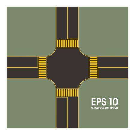 crossroad: cruce simple ilustraci�n Vectores