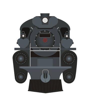 steam locomotive: steam locomotive front side illustration Illustration