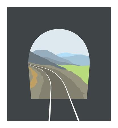 tunnel: railway tunnel illustration Illustration