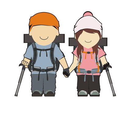 peak hat: hiker couple illustration