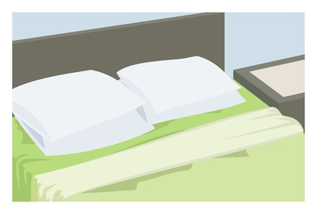 house interior: bed and pillow simple illustration Illustration