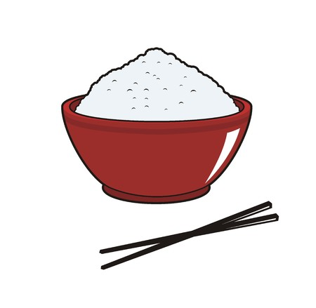 rice in bowl simple illustration