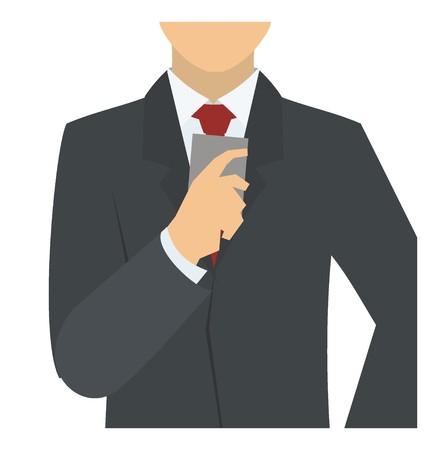 finance department: businessman holding gadget