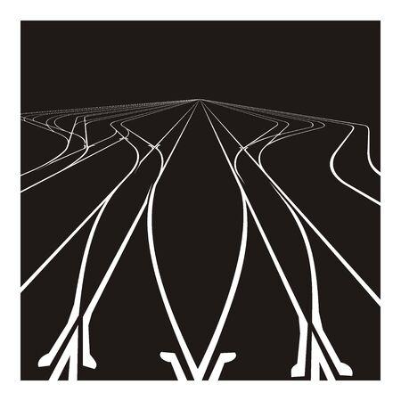 rail yard: railroad junction illustration Illustration