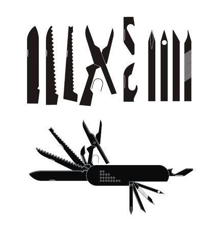purpose: multi purpose knife illustration in black