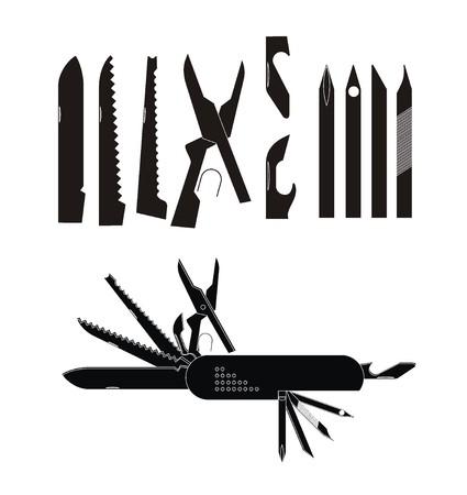 multipurpose: multi purpose knife illustration in black