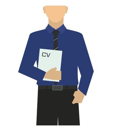 fresh graduate: male job seeker illustration