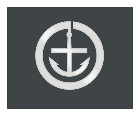 admiral: anchor simple icon Illustration