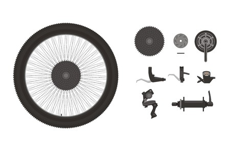 components: bike components icon set