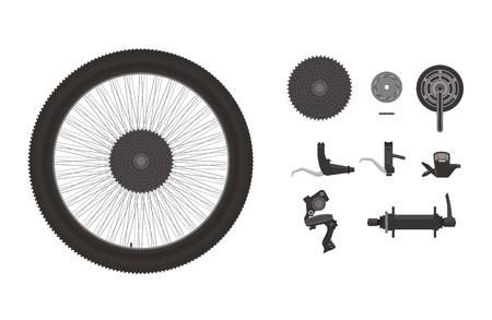 componentes: componentes para bicicletas conjunto del icono