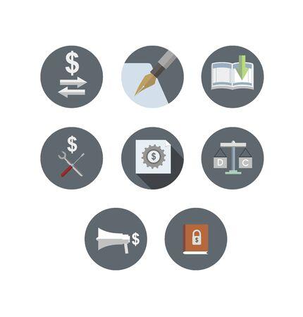 accountant: accounting cycle flat icon set Illustration