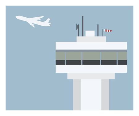 air traffic: air traffic control and airplane Illustration