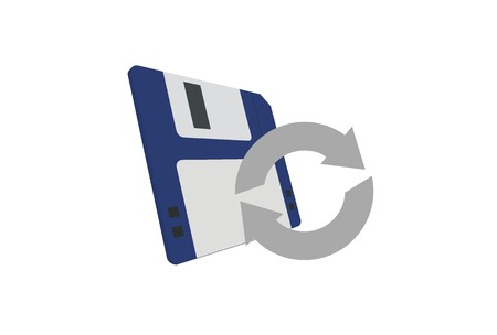 diskette: diskette and transfer data icon Illustration