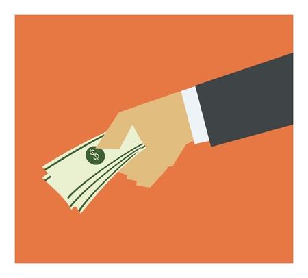 giving money: hand giving money