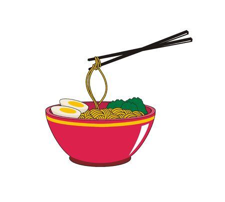 delicious noodle in bowl Ilustração