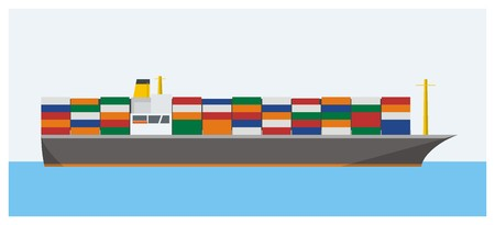water carrier: container ship simple illustration