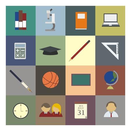 school icon: educational icon set in colour Illustration