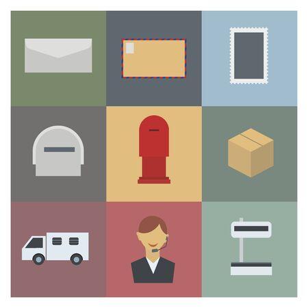 mailing: post and mailing icon set Illustration