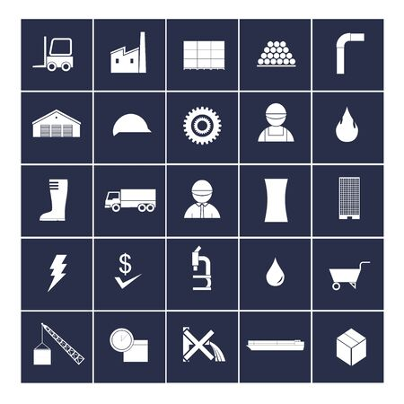 production of energy: factory icon set