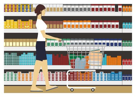 lady shopping: lady shopping with supermarket background