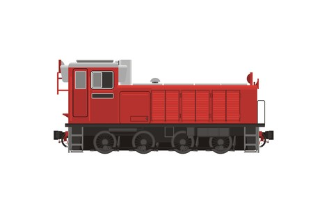 goods station: small shunter locomotive simple illustration Illustration