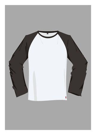 long sleeve: T shirt with long black sleeve Illustration