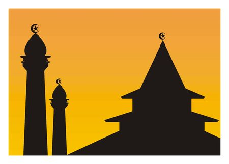 pontudo: sihouette of a mosque with pointed roof Ilustra��o
