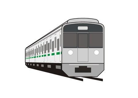 commuter: commuter train in perspective Illustration