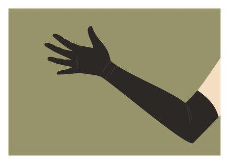 leather gloves: hand in long glove Illustration