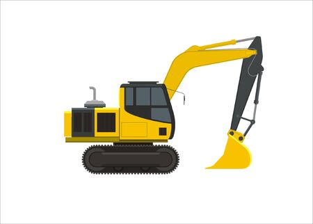 bulldoze: excavator simple illustration Illustration