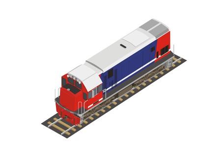 motor coach: short hood locomotive in isometric view