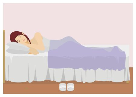 sleepy woman: young lady sleeping in the bedroom Illustration