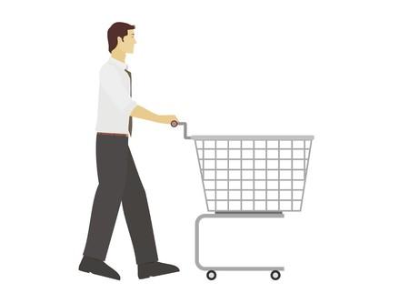 pushing: young man pushing trolley