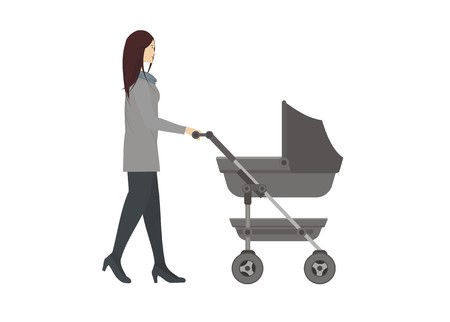 baby and mother: young mother pushing baby trolley