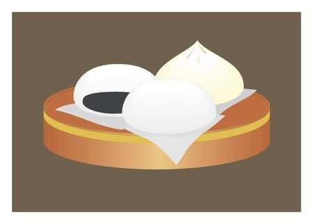 baked beans: baozi simple illustration
