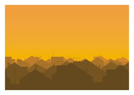 city urban houses silhouette