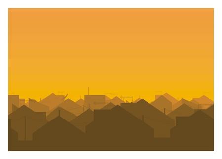 city urban houses silhouette
