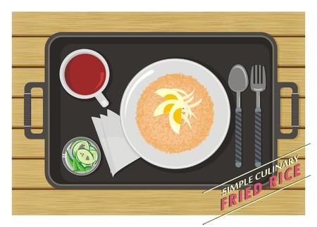 kulinarne: Ryż smażony proste kulinarne Ilustracja