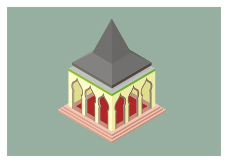 pointed to: isometric mosque with pointed roof
