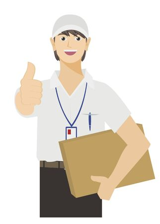 courier: male courier bringing package