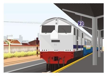 estacion tren: Tren que llega en la plataforma de la estaci�n de tren