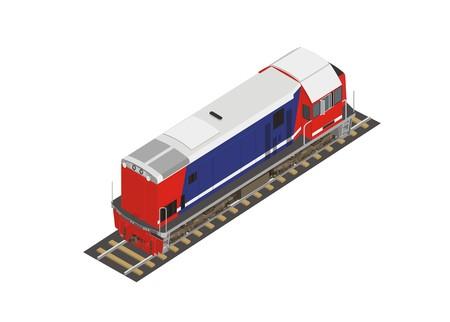 rail yard: long hood locomotive in isometric view
