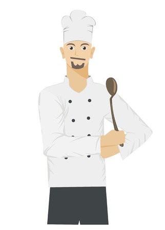 cook cartoon: male chef smiling