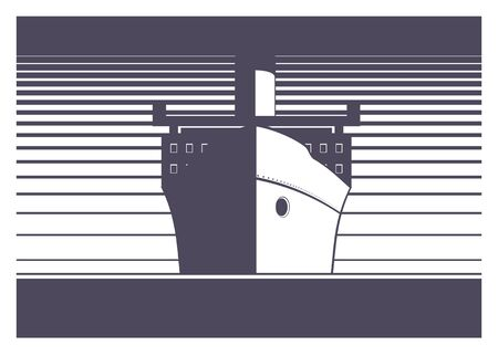 admiral: big ship sailing simple illustration