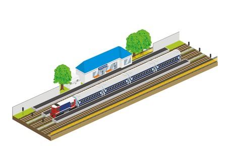 rail yard: train in a small station, isometric illustration Illustration