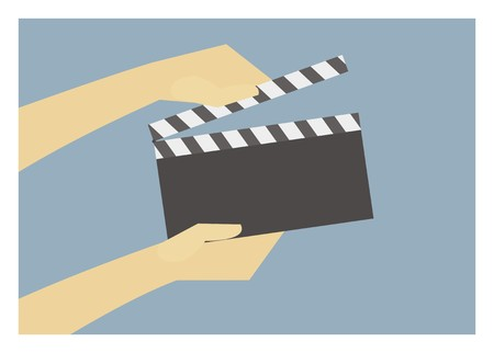 clapper board: hands holding clapper board Illustration