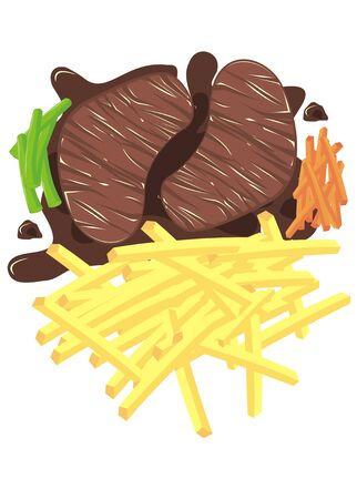 steak with french fries and other vegetable