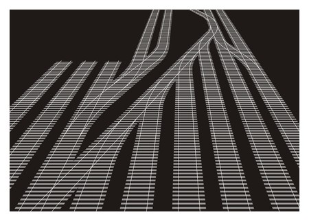 rail yard: railway yard simple illustration