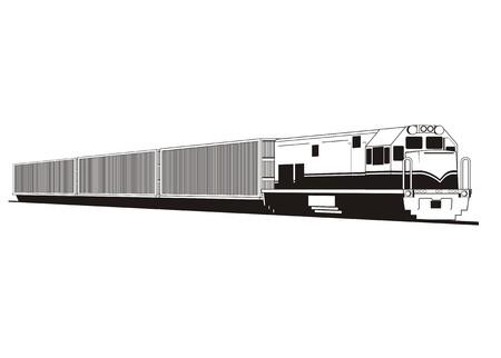 transportation facilities: container train simple illustration