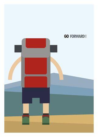 go forward: hiker go forward